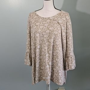 Catherines 2X Tan Lace Blouse Bell 3/4 Sleeves